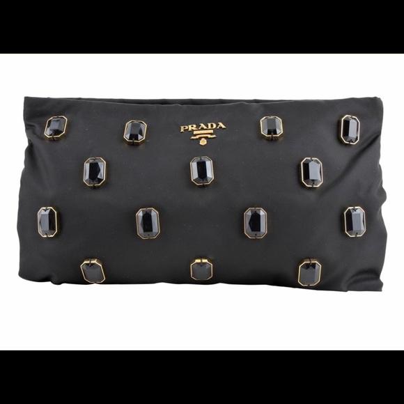 43018f72092d5a Prada Bags | Black Tessuto Pietre Jeweled Nylon Clutch | Poshmark